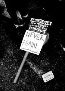 Rally sign on Darfur