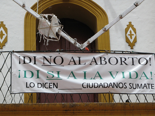 Church in Mexico City, Mexico protest banner against abortion