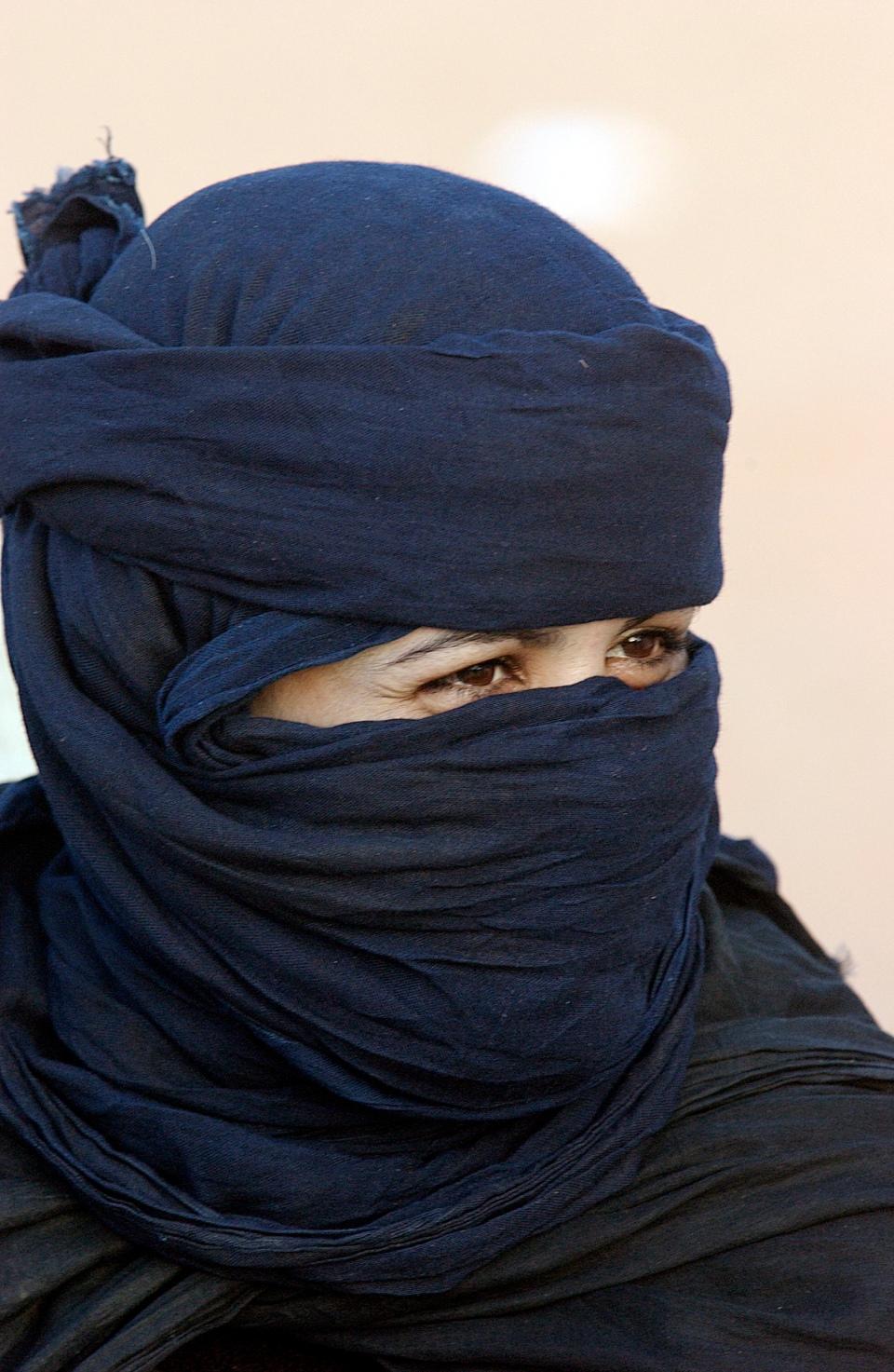 Women dressed in black burka