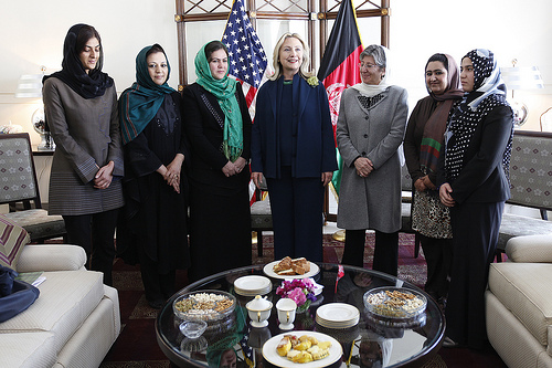 Afghanistan women and Secretary Hillary Clinton, U.S. Embassy Kabul Oct 2011