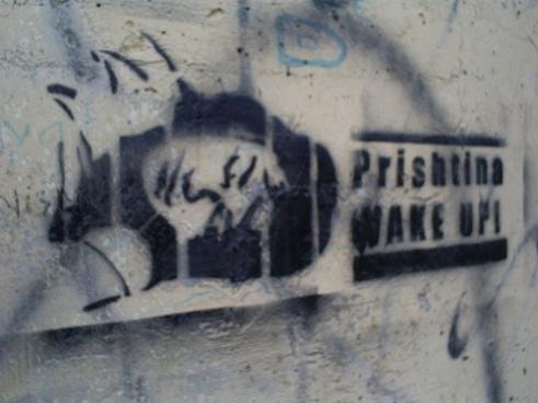 "Prishtina, Kosovo grafitti saying ""Wake Up!"""