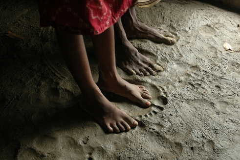 Floor of a hut in Bangladesh after 2007 floods