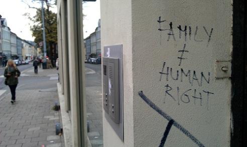 Pro-immigrant graffiti Oslo, Norway