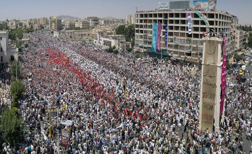 Crowds fill the streets during protests in Syria July 22, 2011