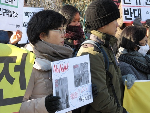 Women protest against nuclear energy use and nuclear weapons in Seoul, South Korea