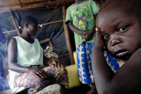 Ugandan Madi Tribe family of refugees