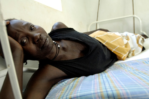 Woman in hospital in Juba, South Sudan, Africa