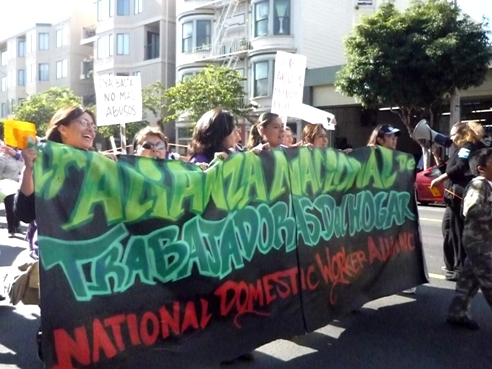 Mexican immigrant domestic workers protest on the streets