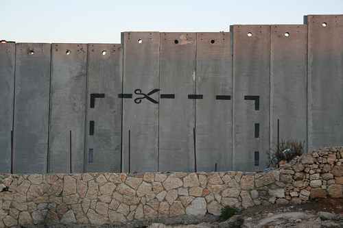 Graffiti of peace on the wall in the Left Bank of Gaza, Palestine.