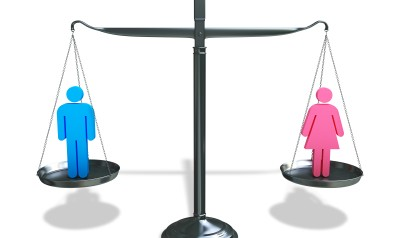 Graphic illustration of scale weighing a man and a woman