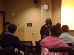 Pamela Hill lecturing audience