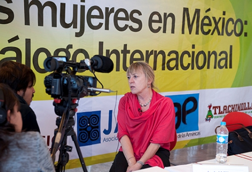 Nobel Peace Prize Laureate Jody Williams talks to the camera in Mexico