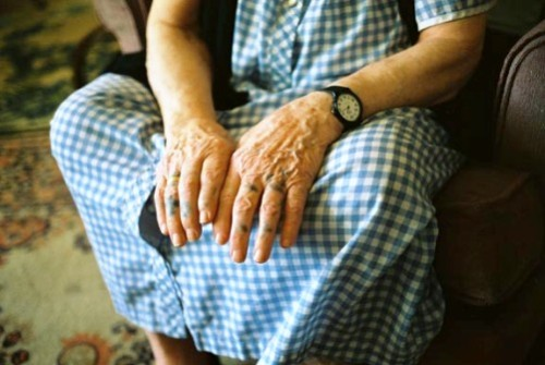 "Grandma shows her hands with her tattoos, from the film ""Grandma's Tattoos"""