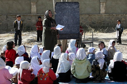United Nations sponsored literacy class in Afghanistan