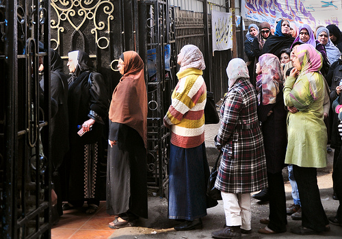 Egyptian Women stand in line to vote