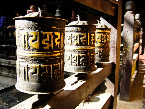 Buddhist prayer wheels in Nepal