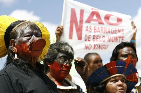 Native Brazilians from the Amazon at public protest rally
