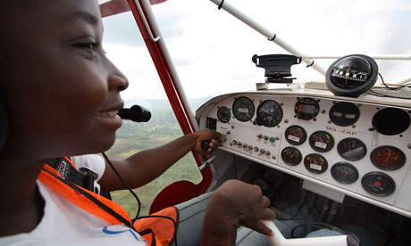 Lydia Wetsi at the controls of a plane
