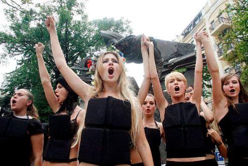 Members of FEMEN protest in Kiev, Ukraine June 3, 2010