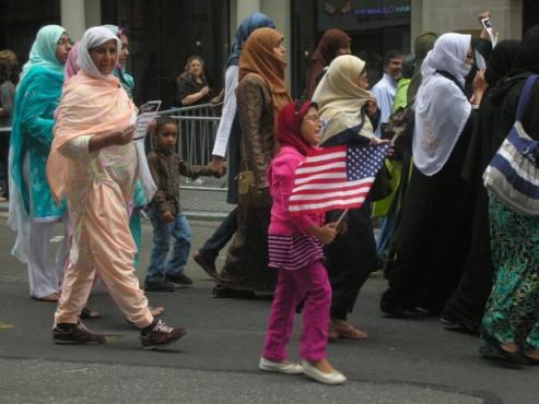 U.S. Muslim American women march on Muslim Day