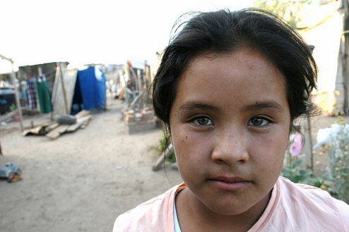 Girl suffering under poverty in Hermosillo, Mexico