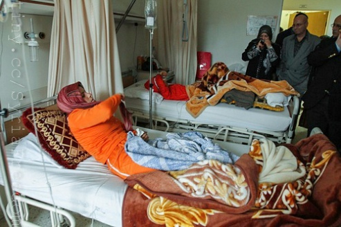 Syrian women patients injured during the ongoing conflict in Syria are treated at a hospital in Lebanon.