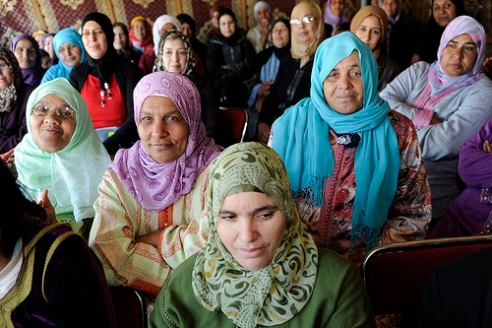 Moroccan women from the Soulalyates ethnic group wear hijabs
