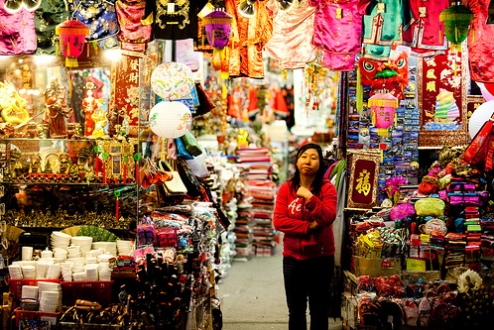 Chinese American woman storeowner in Chinatown San Fransisco, CA USA