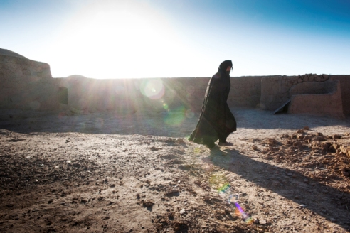 Woman walks in an area reserved for widows only in Herat, Afghanistan