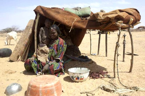 Malian refugee woman and children in Niger camp
