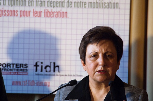 Nobel Laureate Shirin Ebadi speaks as she receives honorary citizenship in Paris June 2010