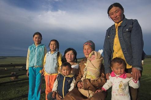 Female line in one family in the Alag Tsar Valley, Khovsgol, Mongolia