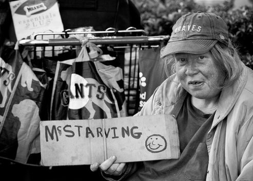 Panhandling Penny, one of the homeless in San Francisco's Embarcadero district