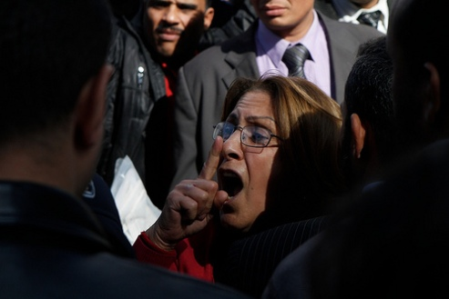 Woman speaks out in Tahrir Square, Cairo January 23, 2012