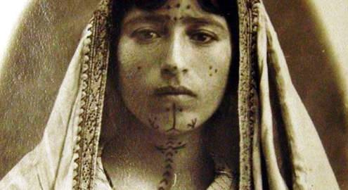A tattooed Armenia woman kept as a slave during the years of the Armenian Genocide