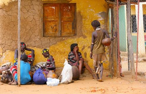 Ethiopian family at market