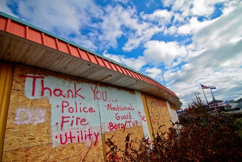 New Jersey building sign thanking police, firemen, utility workers after Hurricane Sandy