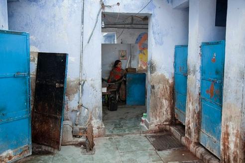 Slum toilet outside of New Delhi, India