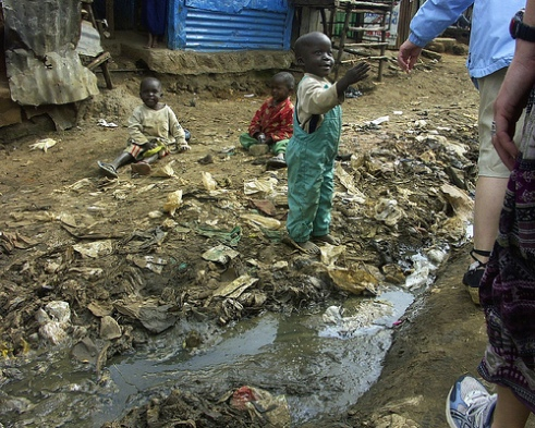 Kenyan slum sewage and child