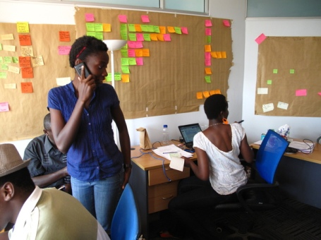 Kenyan Susan Oguya in the office of her company, M-Farm.