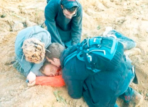 Rachel Corrie after she received fatal wounds from being hit and run over by an Israeli contractor's bulldozer