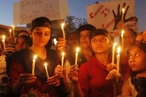 Women activists in New Delhi, India protest the brutal gang rape of a 23-year-old student and her male companion following the December 16 incident