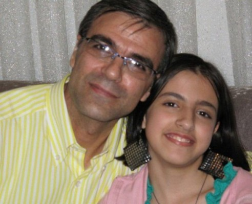 Imprisoned human rights attorney Nasrin Sotoudeh's husband Reza Khandan with their 12-year-old daughter Mehraven