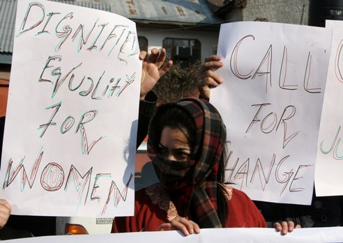 Woman protester in Srinagar, Indian Administered Kashmir January 10, 1213