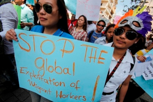 Women migrant domestic workers protest on the streets in Lebanon May 2011