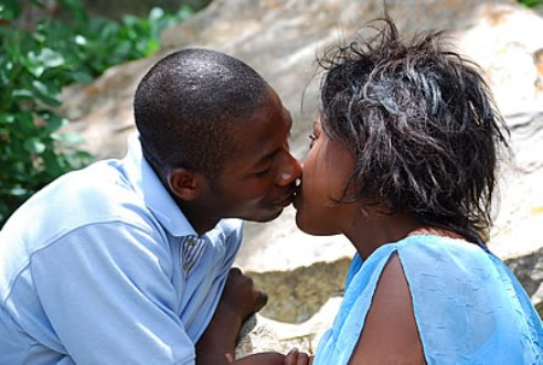 Ugandan couple kissing