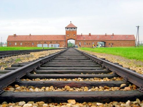 Main track to the entrance of Poland's Auschwitz-birkenau death camp in the summer of 2004