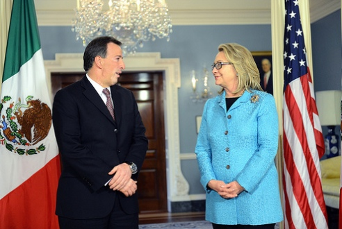 U.S. Secretary of State Hillary Clinton with Mexican foreign Secretary Jose Antonio Meade