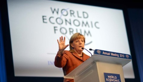 Angela Merkel speaking at World Economic Forum