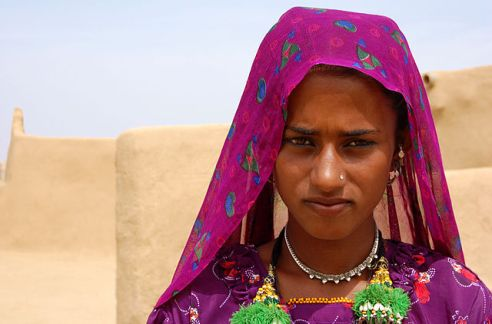 A young Muslim woman in the Thar desert near Jaisalmer, India 2009.